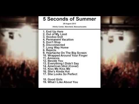 5 Seconds of Summer Setlist - Xfinity Center - Mansfield - Massachusetts - 28 August 2015