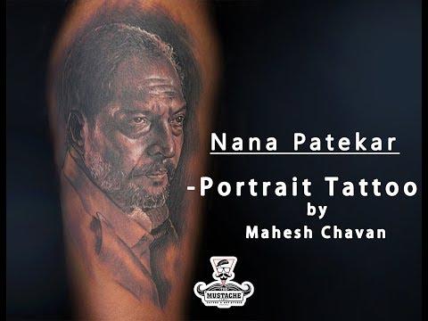 Nana Patekar Tattoo Portrait by - Mahesh Chavan