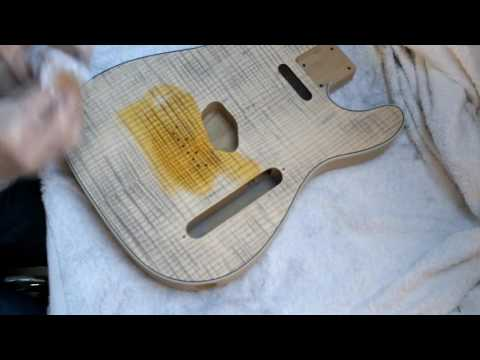 DIY Luthier Telecaster build part 11: Staining a honeyburst and finishing with danish oil