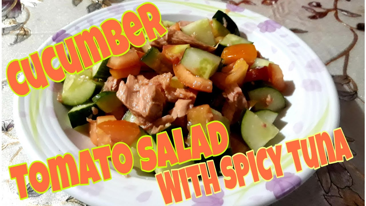 Cucumber Tomato Salad with Spicy Tuna