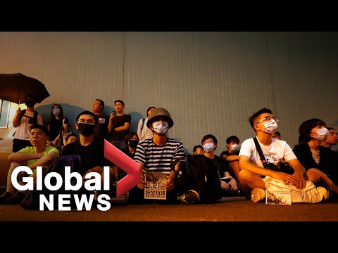 Hong Kong protesters stage silent sit-in at Yuen Long MRT station   FULL