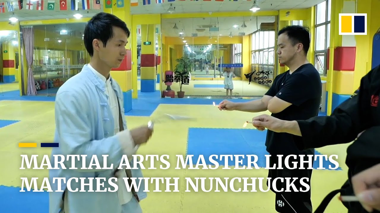Chinese nunchuck master swings at matches and candles to topple Guinness World Records