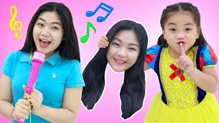 Annie Pretend Play with Toy Piano and Drums to Music Challenge & Sing Kids Nursery Rhymes Songs