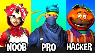 NOOB vs PRO vs HACKER in Fortnite Battle Royale STEREOTYPES