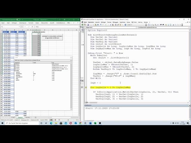 207: Excel-VBA: Blitzschnelle Technik - Zeilen im ListObject mit Hilfe von Arrays entfernen