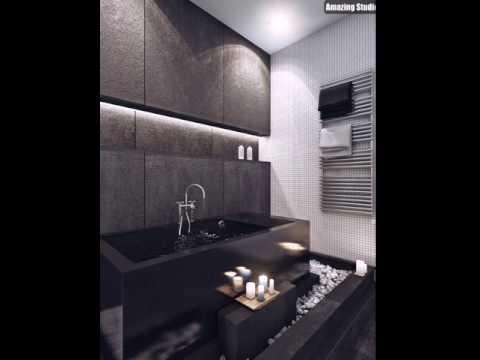 Moderne Badezimmer in Grau und Weiß