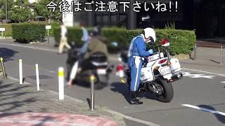 女性と二人乗りしているスクーターが違反しちゃって白バイに捕まった瞬間!