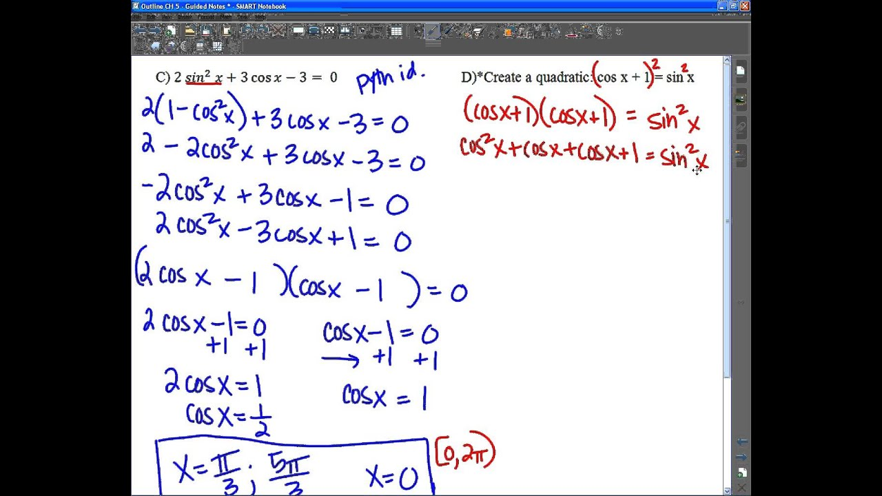 5 3 Part 3 Solving Trig Equations - YouTube