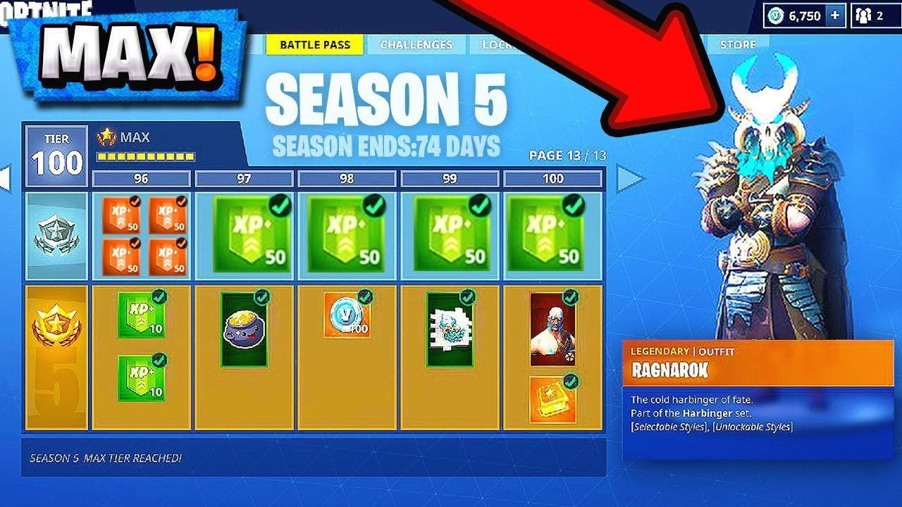 Fortnite Season 5 Battle Pass Buying All 100 Tiers