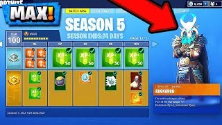 Fortnite Season 5 Battle Pass! | Buying *ALL* 100 Tiers! ( Skins Unlocked )