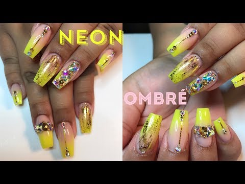 Neon Ombre With Bling Nail Art Tutorial