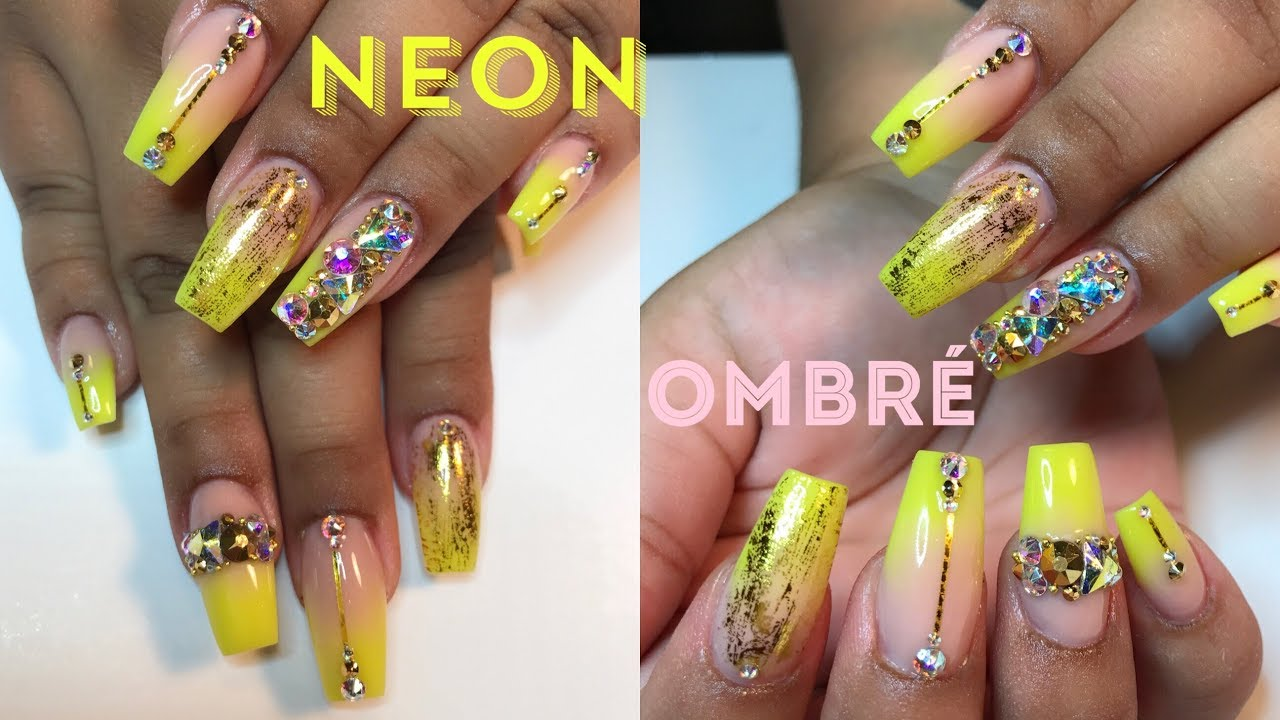 Acrylic Nails Full Set Neon Ombre W Bling Nail Art Tutorial Youtube