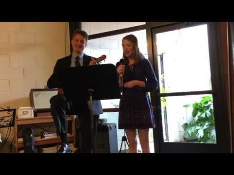 2017 April 8 Jan's Funeral - Somewhere over the Rainbow - Singing Chris and Hannah