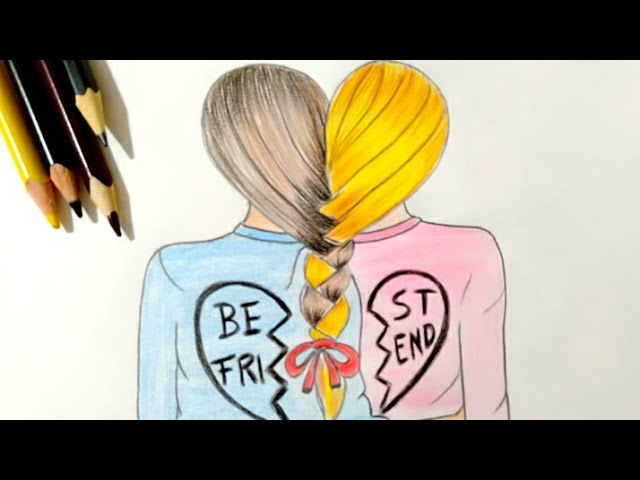 رسم بنات رسم سهل رسم صديقات رسم بالرصاص تعليم رسم بنات رسم رسم بنات كيوت تعليم الرسم Youtube