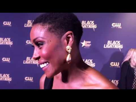 Christine Adams At Black Lightning Premiere Red Carpet