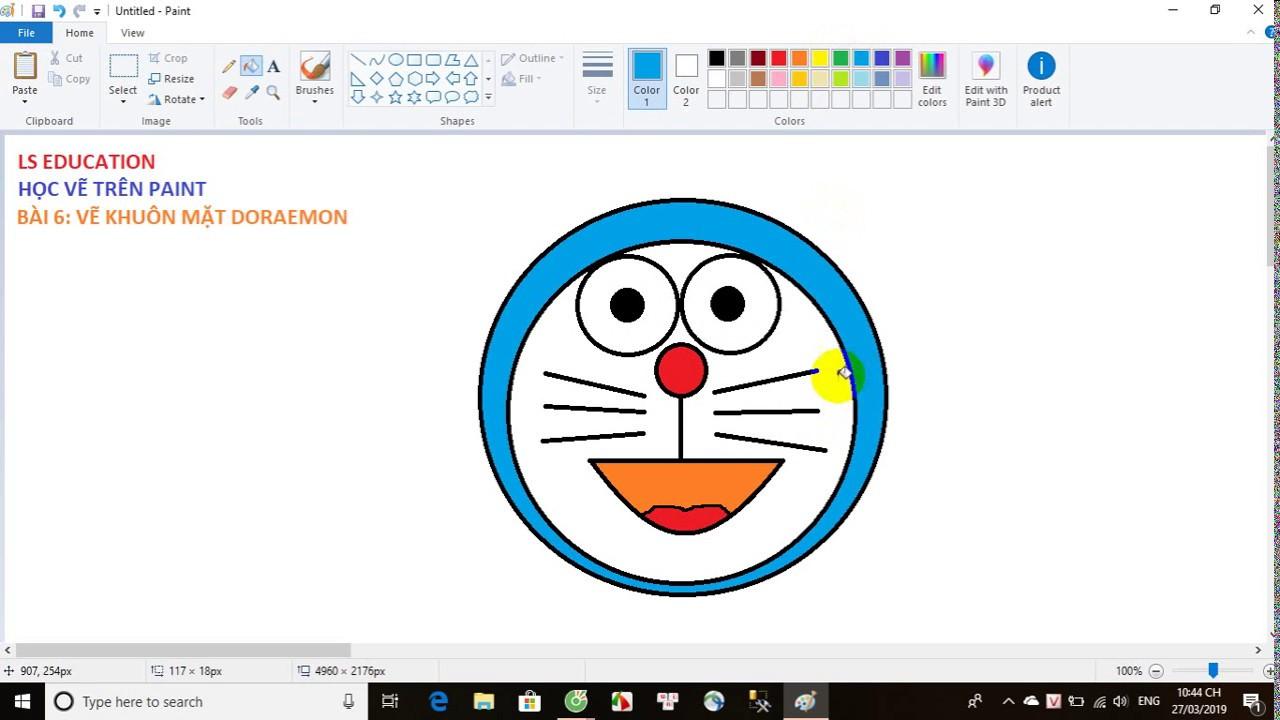 Paint – Bài 6: Vẽ khuôn mặt Doraemon [LS Education]