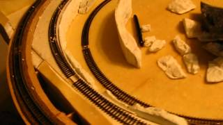 Bending Woodland Scenics Rock Mold Formations, N Gauge Coffee Table Layout.