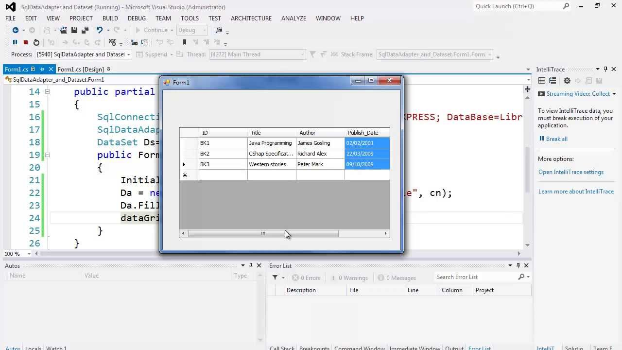 87. برمجة قواعد البيانات - SqlDataAdapter, DataSet, and DataGridView