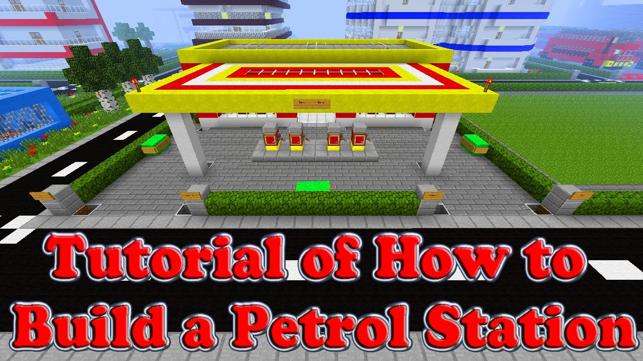 minecraft tutorial of how to build a petrol station part 1. Black Bedroom Furniture Sets. Home Design Ideas