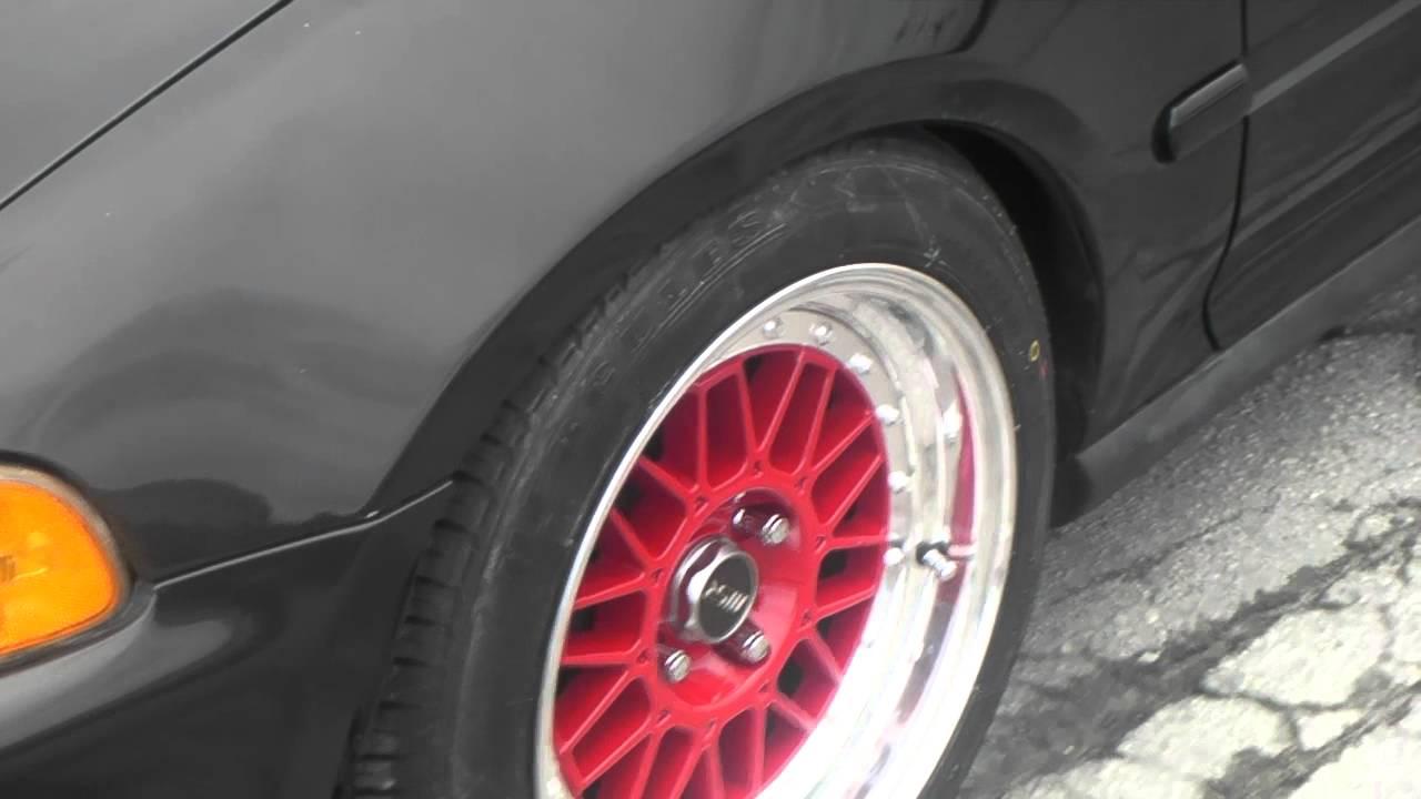 www.DUBSandTIRES.com 15 Inch MSR 228 Wheels 1993 Honda Civic Hatchback 2 Piece Tuner Red Rims ...