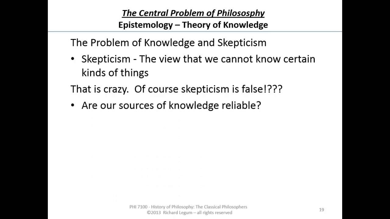 The problem of knowledge in philosophy: the main aspects in their cultural and historical development 42