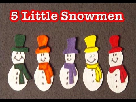 Winter preschool songs - 5 Little Snowmen song - littlestorybug