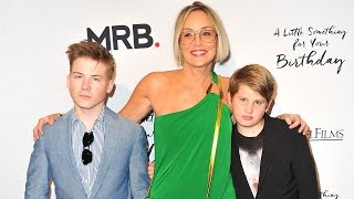 EXCLUSIVE: Sharon Stone Hits Red Carpet With Sons They Won't Take Her Dating Advice