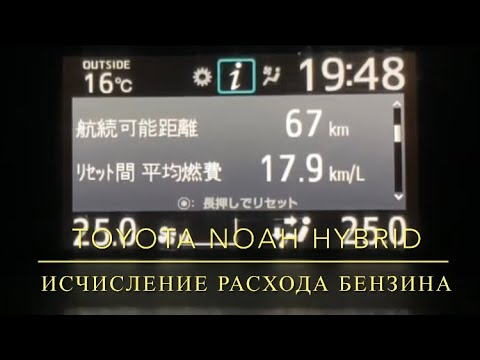 Toyota Noah, Voxy, Esquire hybrid. Исчисление расхода бензина.
