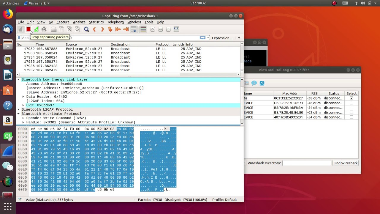 ViewTool Hollong BLE4 0/4 1/4 2 Sniffer Linux Version Captured ble4 2 data
