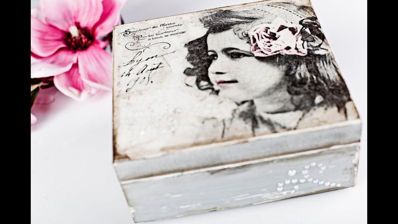 Decoupage Tutorial Box With Pearls Youtube