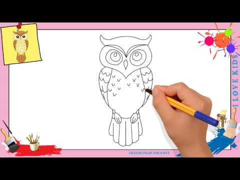Dessin hibou - Comment dessiner un hibou FACILEMENT etape par etape pour ENFANTS