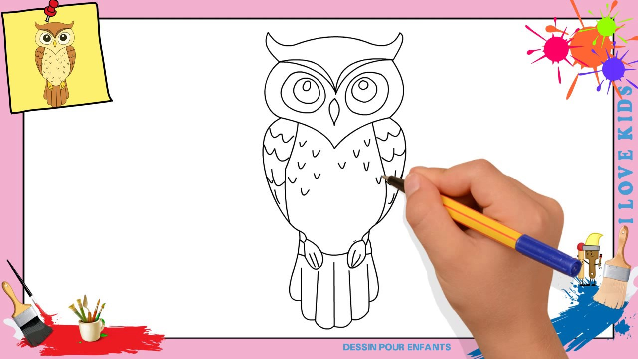 dessin hibou comment dessiner un hibou facilement etape par etape pour enfants youtube. Black Bedroom Furniture Sets. Home Design Ideas