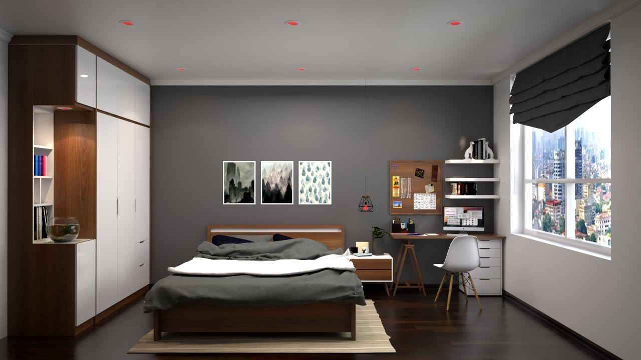 vray rendering Nice Bedroom 017 Render with