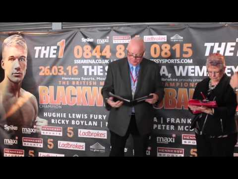 PETER McDONAGH  v ARVYDAS TRIZNO - OFFICIAL WEIGH IN & HEAD TO HEAD / BLACKWELL v EUBANK