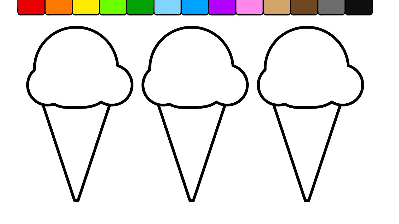 learn colors for kids with this 3 ice cream popsicle coloring page