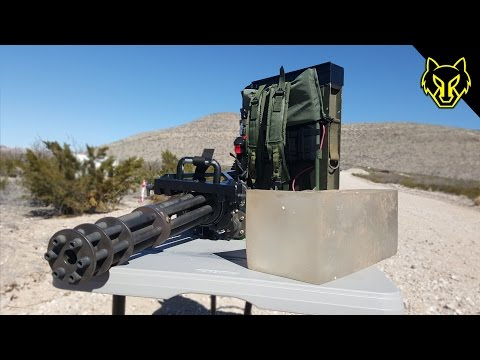 Handheld Minigun vs Ballistics Gel
