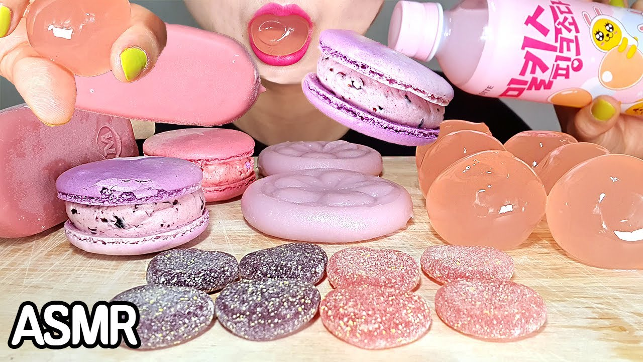 ASMR  Pink & Purple Dessert 핑크색 보라색 디저트 먹방 노토킹 이팅사운드 | *NoTalking MUKPPO Eating Show KOREAN mukbang