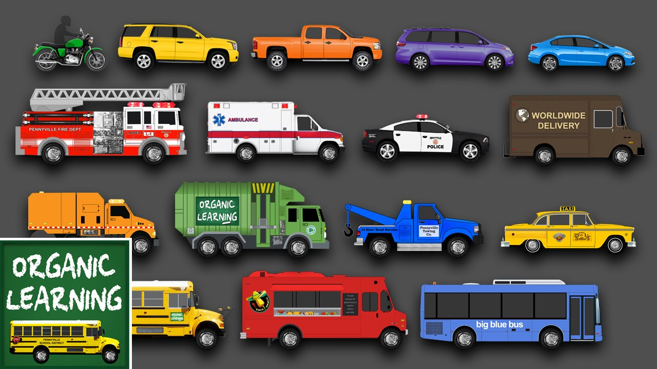 Learning Street Vehicles Names And Sounds For Kids Learn