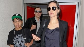 Angelina Jolie Arrives In L.A. With Maddox And Brother James Haven After UN Speech In NY