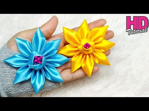 DIY - how to make satin ribbon flower || kanzashi flower || handmade satin ribbon