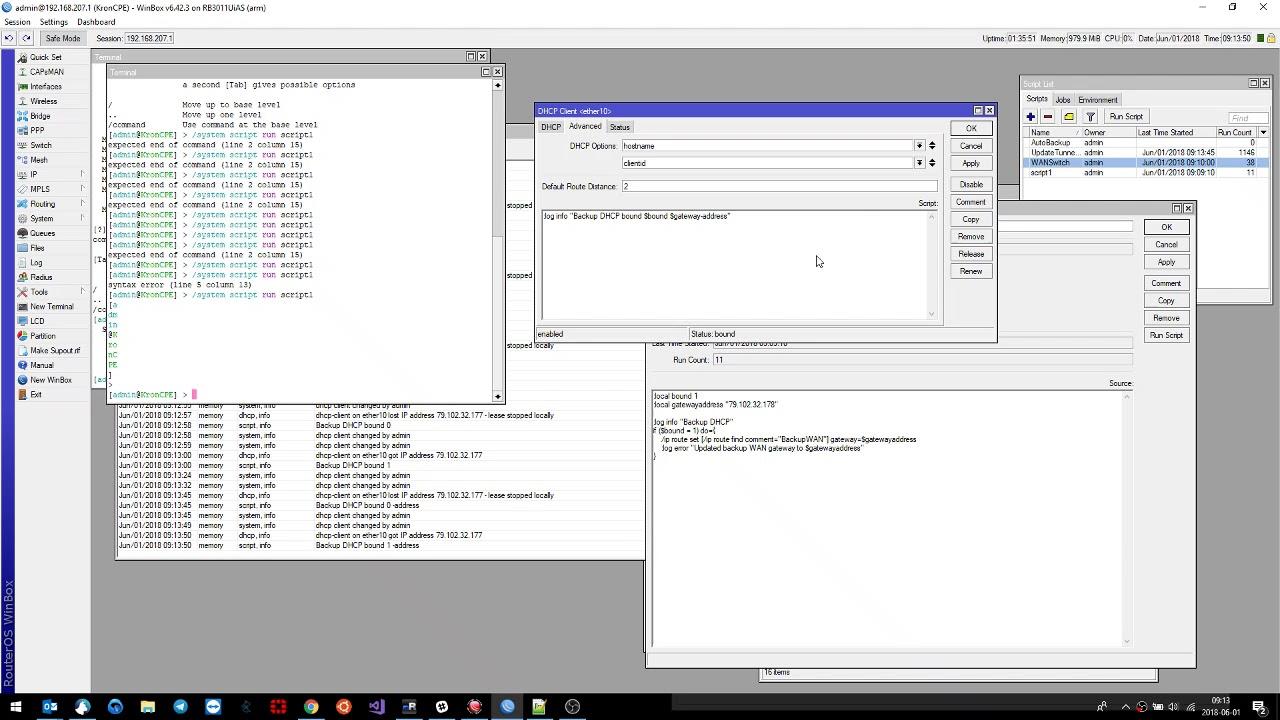 MikroTik dhcp client script bug