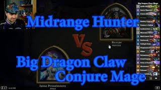 Big Dragon Claw Conjure Mage vs Midrange Hunter | Hearthstone