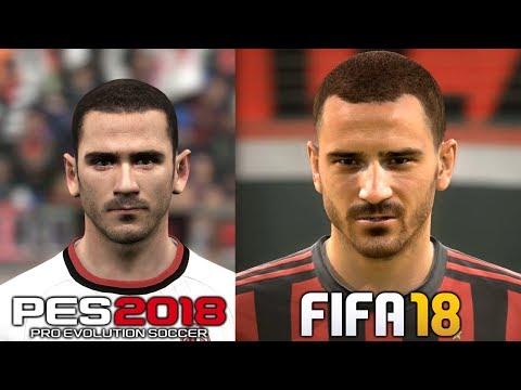 PES 2018 vs FIFA 18 | AC Milan Player Faces Comparison