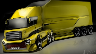 🇩🇪🇩🇪The Future Truck 🇩🇪🇩🇪HOW to DRAW and RENDERING - Concept Desenho automotivo sketch cars