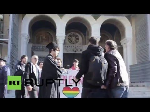 Greece: LGBT activists protest against Bishop that called on public to 'spit on' gays