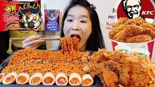 Crazy Spicy Nuclear Fire Noodles & KFC Hot Blaze Chicken! Spicy Ramen Mukbang w/ Asmr Eating Sounds
