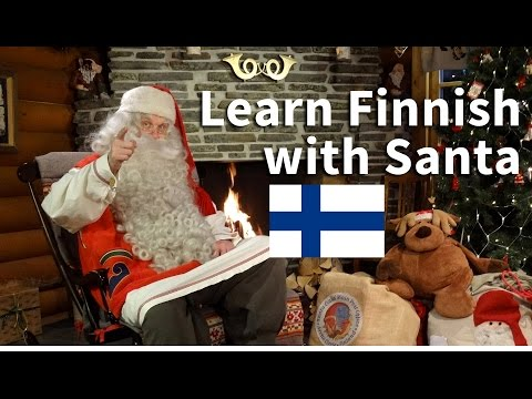 Children learning Finnish language with Santa Claus Lapland Finland Rovaniemi Father Christmas video