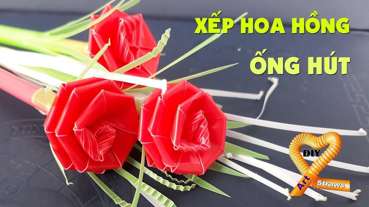 Rất dễ và đẹp: Cách xếp hoa hồng đẹp đơn giản từ 2 ống hút – Straw roses tutorial
