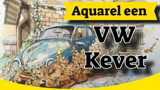 Volkswagen Kever schilderen met Aquarel en brushpen