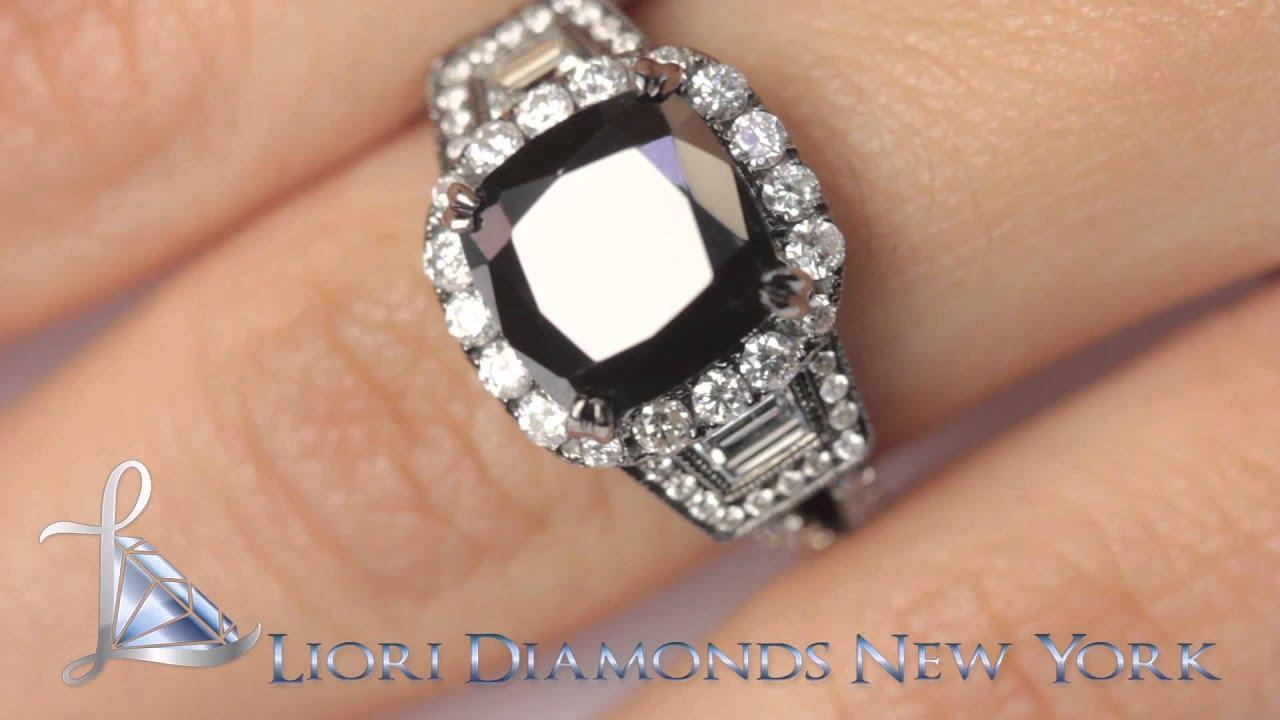 BDR SOLD 028 4 88 CT Cushion Cut Black Diamond Engagement Ring